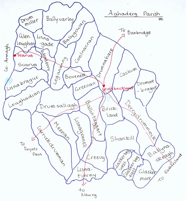 Townlands of Aghaderg Parish with main roads