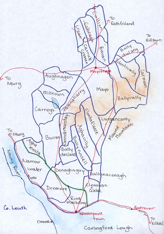 Townland map of Clonallan & Warrenpoint Parishes with main roads