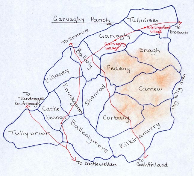 Townlands & main roads in Garvaghy Parish