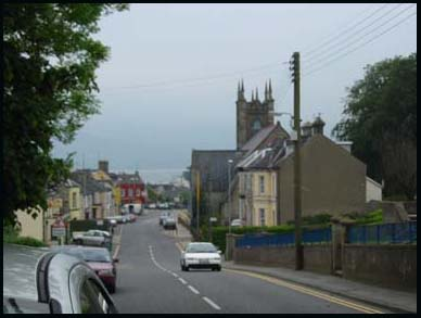Rostrevor Church of Ireland spire and town