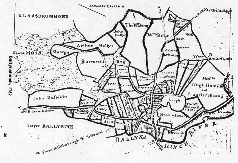 Map of Ballynahinch and area- 1782